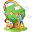 儿童校园生活0030,儿童校园生活,人物,采摘 果实 书本