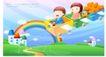 儿童校园生活0034,儿童校园生活,人物,小火车 彩虹 乡间小路