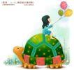 儿童梦幻0022,儿童梦幻,人物,乌龟 气球 女孩