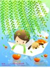 儿童生活0003,儿童生活,人物,垂柳 纸船 飘浮