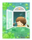 儿童生活0007,儿童生活,人物,打开 窗户 呼吸