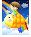 儿童生活0015,儿童生活,人物,坐骑 七色彩虹 天空
