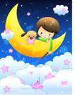儿童生活0016,儿童生活,人物,夜空 勾住 玩具