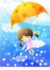 儿童生活0017,儿童生活,人物,雨伞 云朵 鲜花