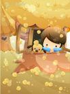 儿童生活0019,儿童生活,人物,阳台 树叶 小狗