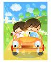 儿童生活0021,儿童生活,人物,卡车 大道 方向