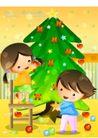 儿童生活0022,儿童生活,人物,圣诞树 装饰 灯饰
