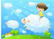 儿童生活0030,儿童生活,人物,绵羊 草原 绒毛