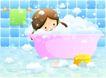 儿童生活0033,儿童生活,人物,浴缸 泡泡 毛巾