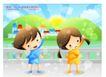 儿童生活0037,儿童生活,人物,两座山 日出 做早操的孩子