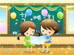 儿童生活0040,儿童生活,人物,黑板 黑板刷 讲台