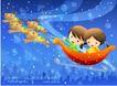 儿童生活0041,儿童生活,人物,梦幻 飘浮 夜空
