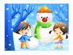 儿童生活0043,儿童生活,人物,冬天 堆积 雪人