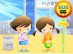 儿童生活0044,儿童生活,人物,公交车 停靠 站点