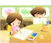 儿童生活0045,儿童生活,人物,绘画 儿童 想像