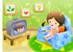 儿童生活0046,儿童生活,人物,看电视 动画片 欣赏