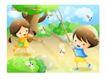 儿童生活0050,儿童生活,人物,捕捉 蝴蝶 飞舞