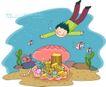 儿童科技0004,儿童科技,人物,浮游 潜水 水底