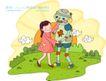 儿童科技0009,儿童科技,人物,机器人 同行 保护
