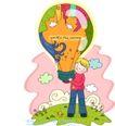 儿童科技0012,儿童科技,人物,热气球 小鸟 抱住