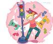 儿童科技0026,儿童科技,人物,舞蹈 红绿灯 行走