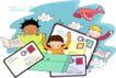 儿童科技0034,儿童科技,人物,飞机 信封 三个小伙伴