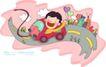 儿童科技0036,儿童科技,人物,公路 红色跑车 挥手男孩