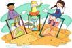 儿童科技0037,儿童科技,人物,沙堆 三个沙漏 三个好朋友