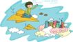 儿童科技0040,儿童科技,人物,坐纸飞机的女孩 空中城市 两只小鸟