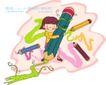 儿童科技0050,儿童科技,人物,怀抱 彩笔 涂画