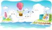 儿童线条插画0003,儿童线条插画,人物,环游 世界 飞荡