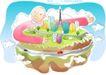 儿童线条插画0004,儿童线条插画,人物,怀抱 空中 岛屿