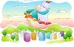 儿童线条插画0005,儿童线条插画,人物,帆船 浮现 天空
