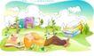 儿童线条插画0006,儿童线条插画,人物,躺倒 草地 梦乡