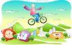 儿童线条插画0007,儿童线条插画,人物,自行车 飞行 张手