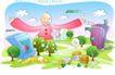 儿童线条插画0008,儿童线条插画,人物,怀抱 世界 树木