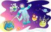 儿童线条插画0009,儿童线条插画,人物,遨游 太空 着装