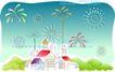 儿童线条插画0011,儿童线条插画,人物,城堡 学校 礼花