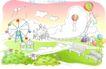 儿童线条插画0013,儿童线条插画,人物,横幅 长凳 休闲