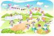 儿童线条插画0015,儿童线条插画,人物,气球拱门 开心日子 礼物