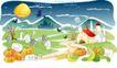 儿童线条插画0017,儿童线条插画,人物,南瓜 蔬菜 山村