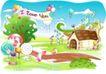 儿童线条插画0019,儿童线条插画,人物,横幅 小屋 糖果