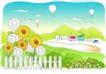儿童线条插画0021,儿童线条插画,人物,篱笆 降落 村庄