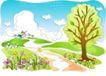 儿童线条插画0022,儿童线条插画,人物,大道 步行 大树