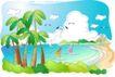 儿童线条插画0023,儿童线条插画,人物,游泳 热带 阳光