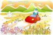 儿童线条插画0026,儿童线条插画,人物,稻草人 汽车 托运