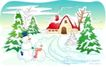 儿童线条插画0028,儿童线条插画,人物,冬季 雪人 雪景