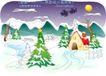 儿童线条插画0029,儿童线条插画,人物,雪花 房屋 寒冷