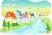 儿童线条插画0032,儿童线条插画,人物,溪流 钟楼 乡村