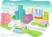 儿童线条插画0033,儿童线条插画,人物,公路 城市 高楼